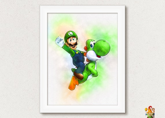 Super Mario Print Game Mario Poster Nintendo Game Print Watercolor