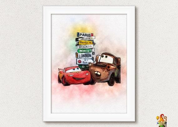 Disney Cars Print Disney Cars Poster Cars Printable Art Cars Mater Mcqueen Cars Print Watercolor Printable Birthday Disney Cars Boys Room By Digitalpaintsshop Catch My Party