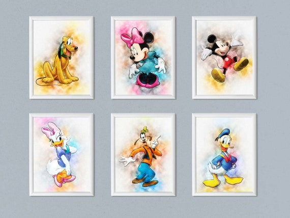 photograph relating to Printable Disney Characters named Established of 6 Disney print poster Disney people Watercolor