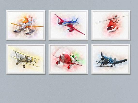 Zestaw 6 Disney Samoloty Plakaty Disney Samoloty Akwarela Dzieci Grafika Urodziny Dekoracji