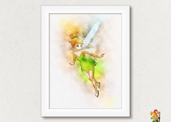 Disney Tinkerbell print Fairy print Watercolor Tinkerbell wall ar