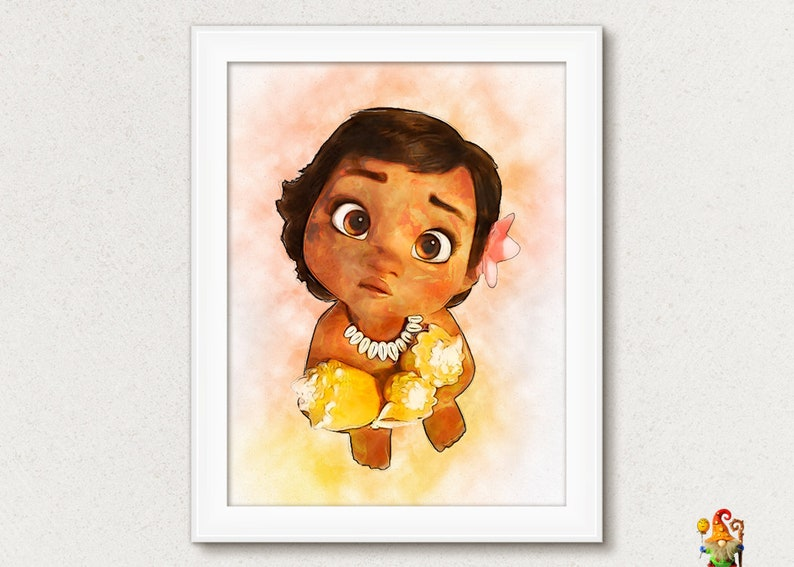 Moana watercolor effect Digital printable download Kids image 0