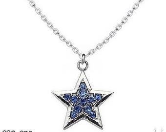 Silver Star set with blue rhinestones pendant necklace