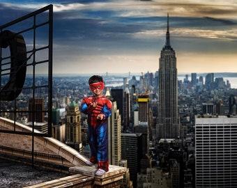 Superhero Digital Background, Digital Backdrop, Rooftop Cosplay Background, New York City Skyline