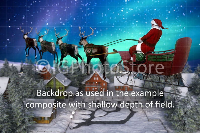 Xmas Backdrop for Kids Composite Photography Christmas Digital Background Ride in Sleigh with Santa Digital Backdrop Flying Sleigh Ride
