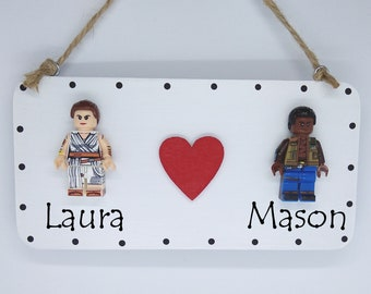 Star Wars Rey & Finn Valentine Engagement Gift Mini Figure Sign