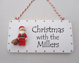Family Christmas Personalised Mini Figure hanging sign plaque
