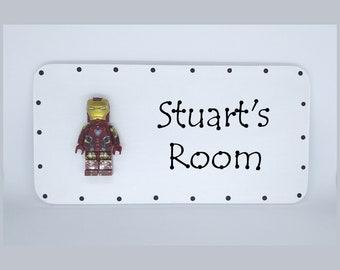 Ironman Personalised door sign plaque Mini Figure Superhero