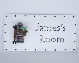 Mandalorian & Grogu the Child Mini Figure Personalised door sign plaque
