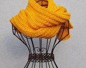 Yellow wool scarf woman. Scarf Schal handmade accessorry, Gift, Wool scarf fashion accessory