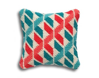 Geometric Twists contemporary needlepoint mini kit, turquoise and coral colourway