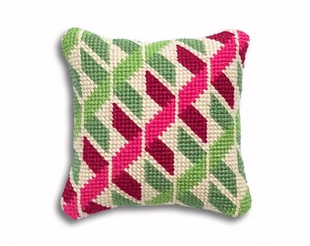 Geometric Twists contemporary needlepoint mini kit, green and pink colourway