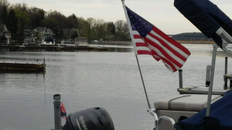 REMOVABLE, Pontoon Boat(party barge) Rail Flag Pole Mount / Holder, Made in  the USA, holds full size flag pole (1
