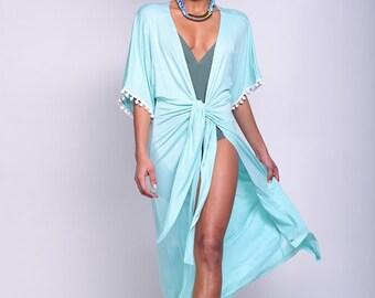 turquoise kimono cardigan, kimono robe, beach cover up, cover up, resort wear, beach wear, beach wrap, summer beach, womens cover up, summer