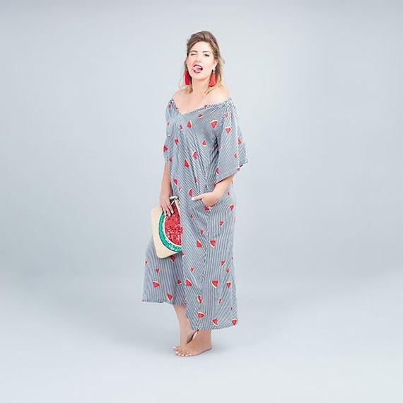 watermelon print,plus size dress, trendy plus size, long maxi dress, plus  size dresses, watermelon, oversized dress, dress with pockets,