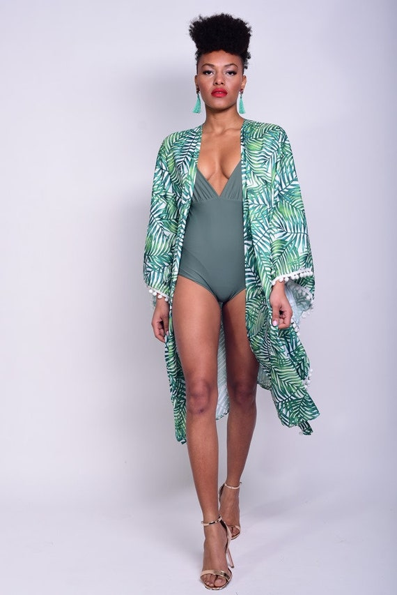 dress beach boho green ups kaftan ladies leaf plus hawaiian beach kimono kimono size cover kimono dress kimono dress dress bolero green 80HrXwx0
