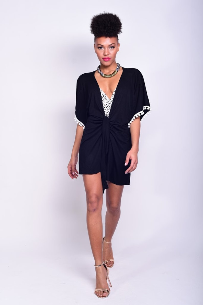 24d0949084 Black kimono robe womens robe beach cover up beach wrap | Etsy