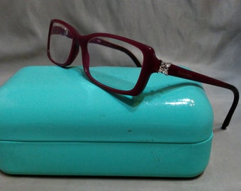 8dd93d27e583 Vintage Tiffany   Co Sapphire Burgundy Reading Glasses Eye Glasses with  Case and Cloth tf 2091-b