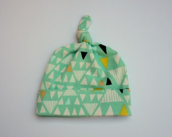 blue green triangle knit knotted baby boy hat