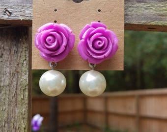 Purple rose and pearl earrings