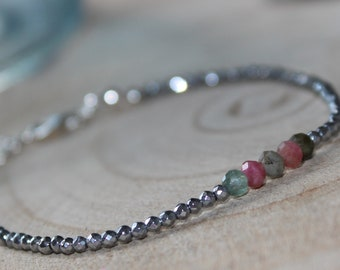Fine bracelet in Silver 925/1000, tourmaline and hematite