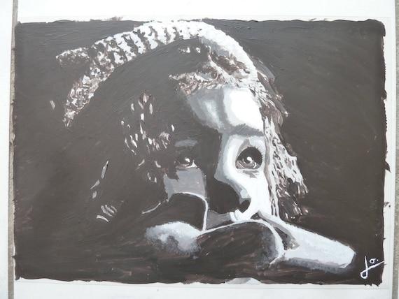 portrait d 39 une enfant en peinture en noir et blanc etsy. Black Bedroom Furniture Sets. Home Design Ideas