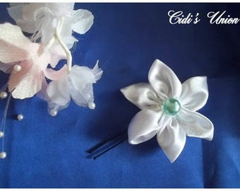 White satin hair - wedding hair stick