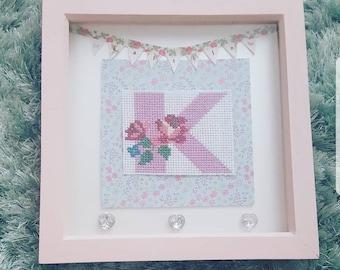 Girls initial cross stitch frame