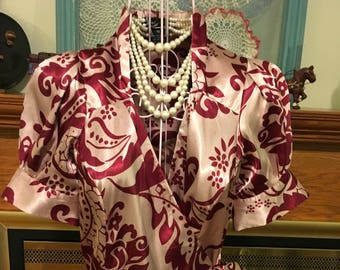 80's silky wrap blouse size xs
