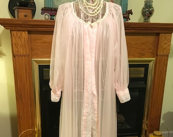 50's night robe pink chiffon material