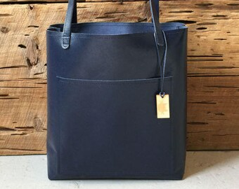 Navy Blue leather Tote Bag