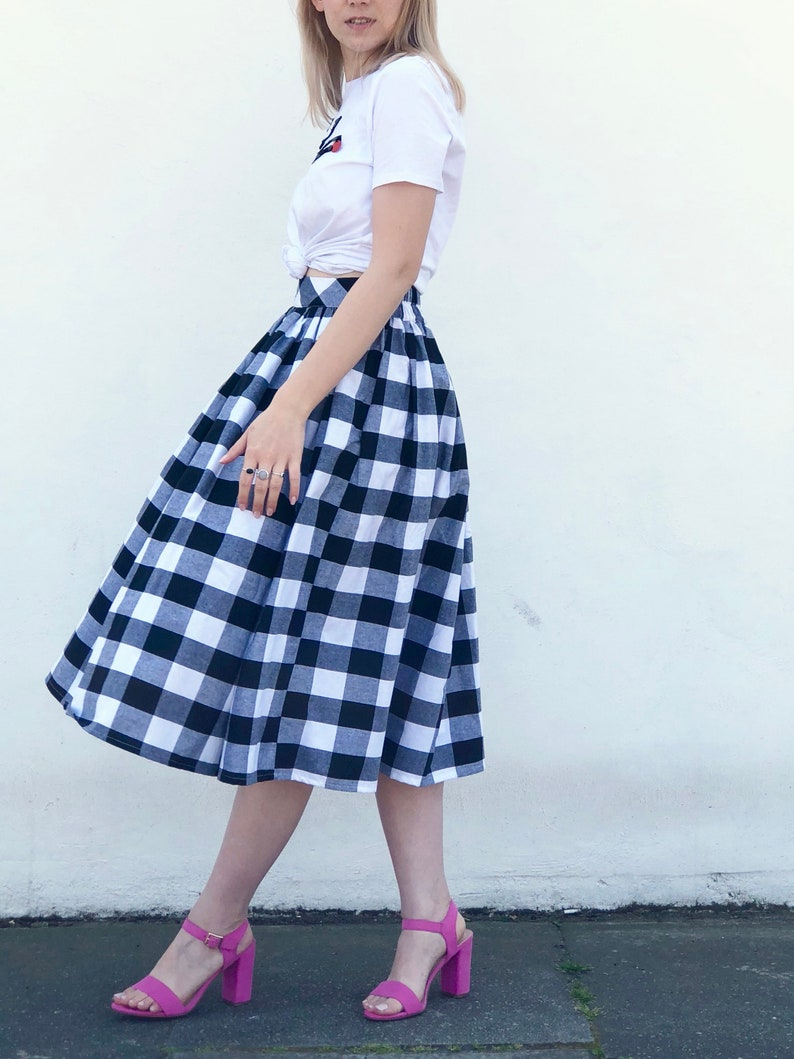 3c889c428835 Black and white check gingham skirt 100% cotton full   Etsy