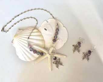 Lavender Butterfly and Earring Set