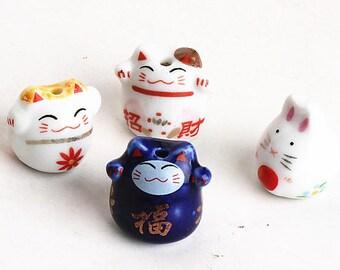 4pcs Kawaii Maneki Neko Beads Ceramic Cat Neko Beads Lucky Cat Porcelain Beads Bracelet Beads Jewelry Bead Wealth Charm DIY Jewelry Supplies