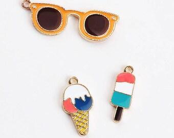c3735b34d 5 10pcs Ice Cream Charm Sunglasses Charm Summer Charms Ice Cream Pendant  Sunglasses Pendant Bracelet Charm DIY Jewelry Supplies Findings