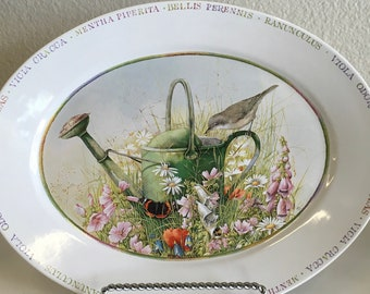 Vintage Oval Serving Platter Wildflower Meadow by Marjolein Bastin
