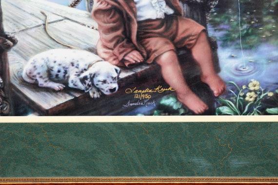 Sandra Kuck boy and dog RARE BEAUTIFUL ART PRINT with oval image! PUPPY