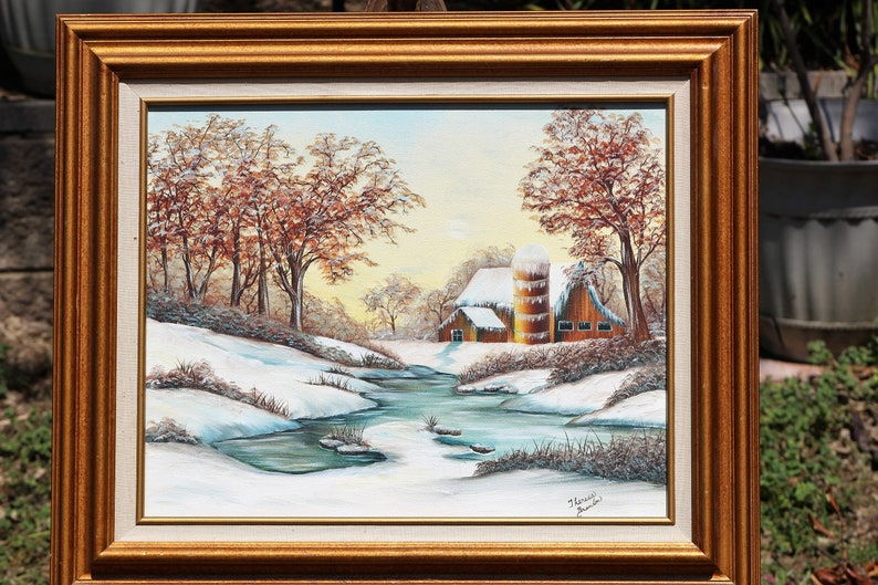 Oil Painting of Tranquil Winter Scene by Theresa Braniton Snowscape Oil Painting on Canvas River Flowing by a Farmhouse with Big Trees