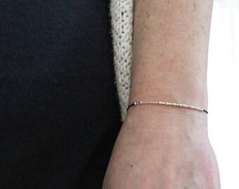 ROCKSTAR . .     . .   .  ...   .  . . Morse Code Bracelet - Secret Message in Sterling Silver - Minimal jewelry Gifts for Her