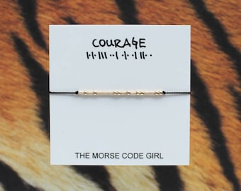 COURAGE  . .     ..  . . .    . . Morse Code Layering Bracelet - Sterling Silver - Simple Jewelry with Secret Message - Let me hear you ROAR