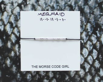 MERMAID    . . .    .  ..  .. Morse Code Layering Bracelet - Sterling Silver - Simple Jewelry with Secret Message - Lets Be Mermaids