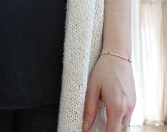 BOSS BITCH  ...     ......  ... ..   . .  .... Morse Code Bracelet - Sterling Silver Secret Message Jewelry - Minimal Bar Bracelet