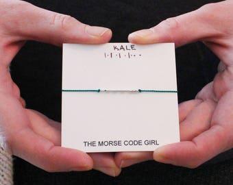 KALE  . .  . .. . Morse Code Bracelet - Sterling Silver Secret Message Bracelet - Inspiration to Eat Healthy