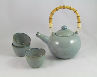 Teapot and 3 cups enamelled High Temperature of 1280 degrees