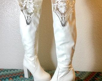 01f5e2a1734 Vintage White Leather Platform Go Go Boots   1960s Size 7 Mod Glam Rock  Retro Boots   1970s David Bowie ABBA Shoes   Lace Wedding Heels
