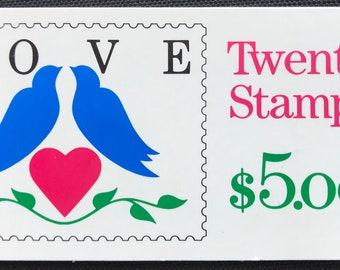 1990 25 Cent Booklet Heart Love Bird Series USPS Postage Scott Catalog 2440 Wedding Save The Date Anniversary MNH Valentines Day
