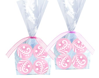 Wedding Favors, Bride To Be, Bridal Shower, Baby Shower - Strawberry Creme Hard Candy Drops - 8 Bags with Ribbon