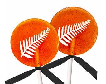 Party Favors, Halloween Lollipops - Orange Apple Cider - 8 Lollipops with Ribbon
