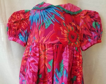 Infant Dress-Size 12 to 18 Months-Red Pink Green Dahlia-100% Cotton-Ready to Ship