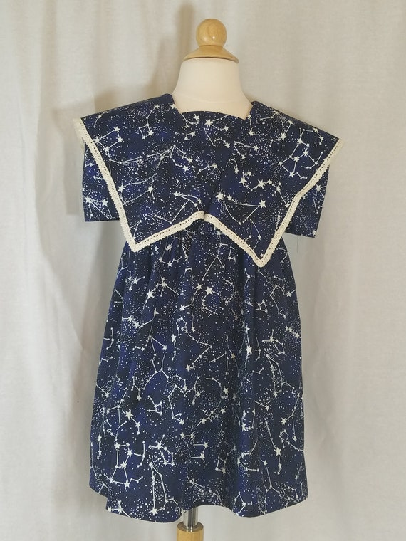 Toddler Girl's Dress Size 4T Midnight Navy Constellations Glow in the Dark Stars Crochet Lace 100% Cotton Ready to Ship